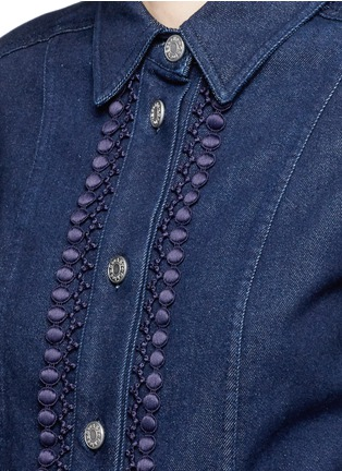 Detail View - Click To Enlarge - See by Chloé - Crochet lace placket trim denim rompers