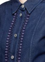 Crochet lace placket trim denim rompers