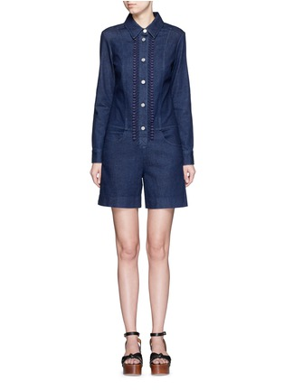 Main View - Click To Enlarge - See by Chloé - Crochet lace placket trim denim rompers