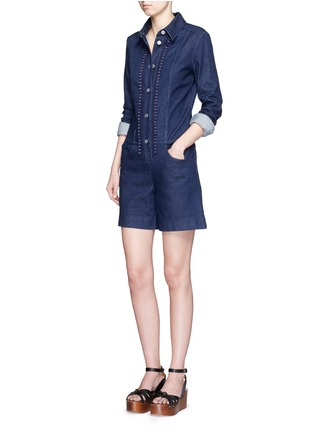 Figure View - Click To Enlarge - See by Chloé - Crochet lace placket trim denim rompers