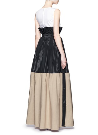 Back View - Click To Enlarge - Tome - Taffeta paperbag waist cotton combo maxi skirt