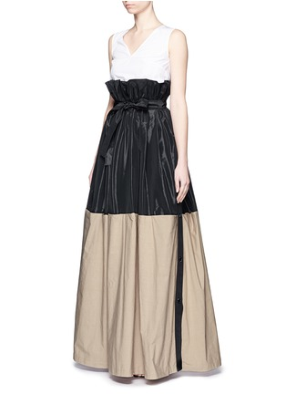 Front View - Click To Enlarge - Tome - Taffeta paperbag waist cotton combo maxi skirt