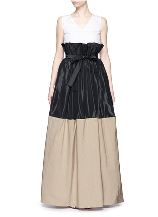 Main View - Click To Enlarge - Tome - Taffeta paperbag waist cotton combo maxi skirt