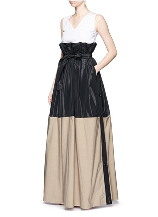 Figure View - Click To Enlarge - Tome - Taffeta paperbag waist cotton combo maxi skirt
