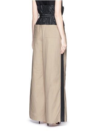 Back View - Click To Enlarge - Tome - Taffeta paperbag waist cotton wide leg pants