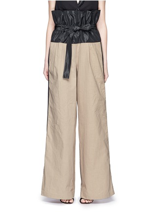 Main View - Click To Enlarge - Tome - Taffeta paperbag waist cotton wide leg pants