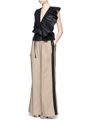 Figure View - Click To Enlarge - Tome - Taffeta paperbag waist cotton wide leg pants