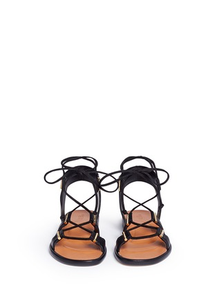 Front View - Click To Enlarge - Rosetta Getty - Crisscross lace-up leather sandals