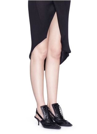 Figure View - Click To Enlarge - Givenchy - Lace-up slingback brogue pumps