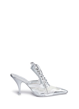 Main View - Click To Enlarge - Givenchy - 'Show' decorative lace-up metallic leather mules