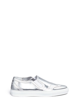 Main View - Click To Enlarge - Givenchy - 'Skate Basse New' brogue detail metallic leather slip-ons