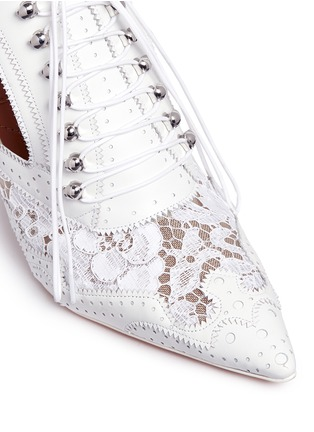 Detail View - Click To Enlarge - Givenchy - 'Show' decorative lace-up leather mules