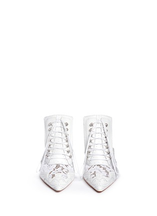 Front View - Click To Enlarge - Givenchy - 'Show' decorative lace-up leather mules