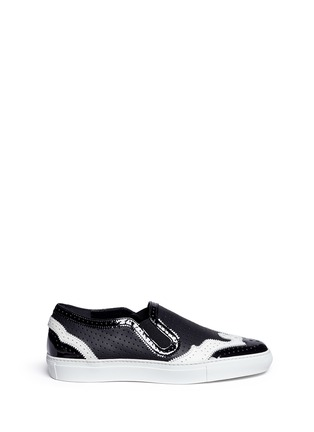 Main View - Click To Enlarge - Givenchy - Contrast brogue leather skate slip-ons