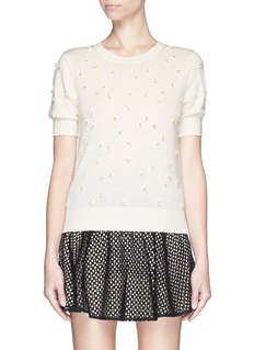 ALICE + OLIVIA 'Abi' 3D flower appliqué sweater