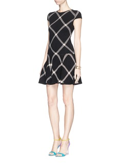 ALICE + OLIVIA Plaid check knit drop waist dress