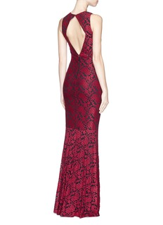 ALICE + OLIVIA 'Roxie' embroidered diamond back gown
