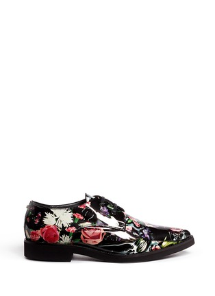 Main View - Click To Enlarge - MC Q SHOES - 'Kim' floral print patent leather Derbies