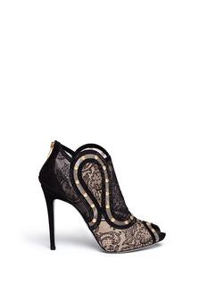 RENÉ CAOVILLA'Cannes' crystal strap lace mesh booties