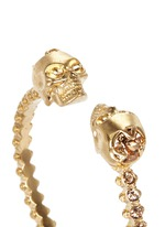Double skull crystal bangle