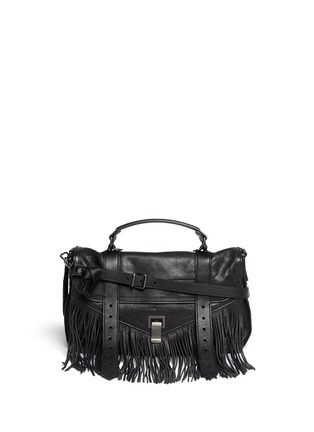 Main View - Click To Enlarge - Proenza Schouler - 'PS1' medium fringe leather satchel