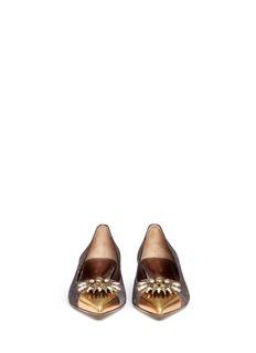 SERGIO ROSSI'Glam' jewel toe metallic lurex flats