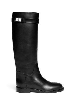 Main View - Click To Enlarge - Givenchy - Shark tooth turn lock leather riding boots