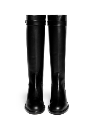Figure View - Click To Enlarge - Givenchy - Shark tooth turn lock leather riding boots