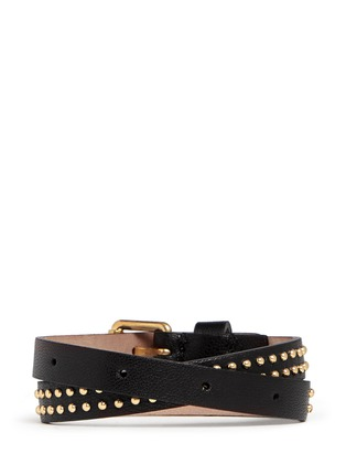 Back View - Click To Enlarge - Alexander McQueen - Skull charm double wrap stud leather bracelet