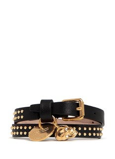 ALEXANDER MCQUEEN Double wrap skull stud leather bracelet