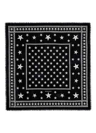 Detail View - Click To Enlarge - Givenchy - Star and stud print wool scarf