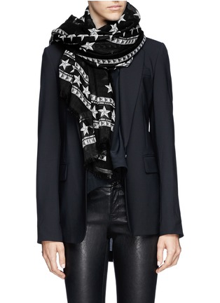 Figure View - Click To Enlarge - Givenchy - Star and stud print wool scarf
