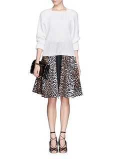 ELIZABETH AND JAMES 'Belle' front zip leopard print skirt