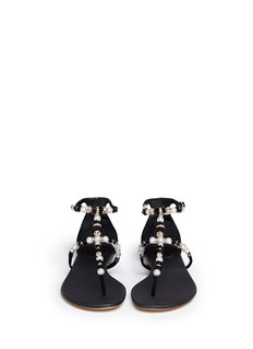 RENÉ CAOVILLAFloral bead faux pearl flat sandals