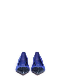 SERGIO ROSSI'Siren' cutout leather toe cap suede flats