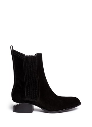 Main View - Click To Enlarge - Alexander Wang  - 'Anouck' cutout heel suede Chelsea boots