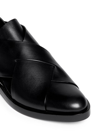 Detail View - Click To Enlarge - Alexander Wang  - 'Morgan' criss cross leather slip-ons
