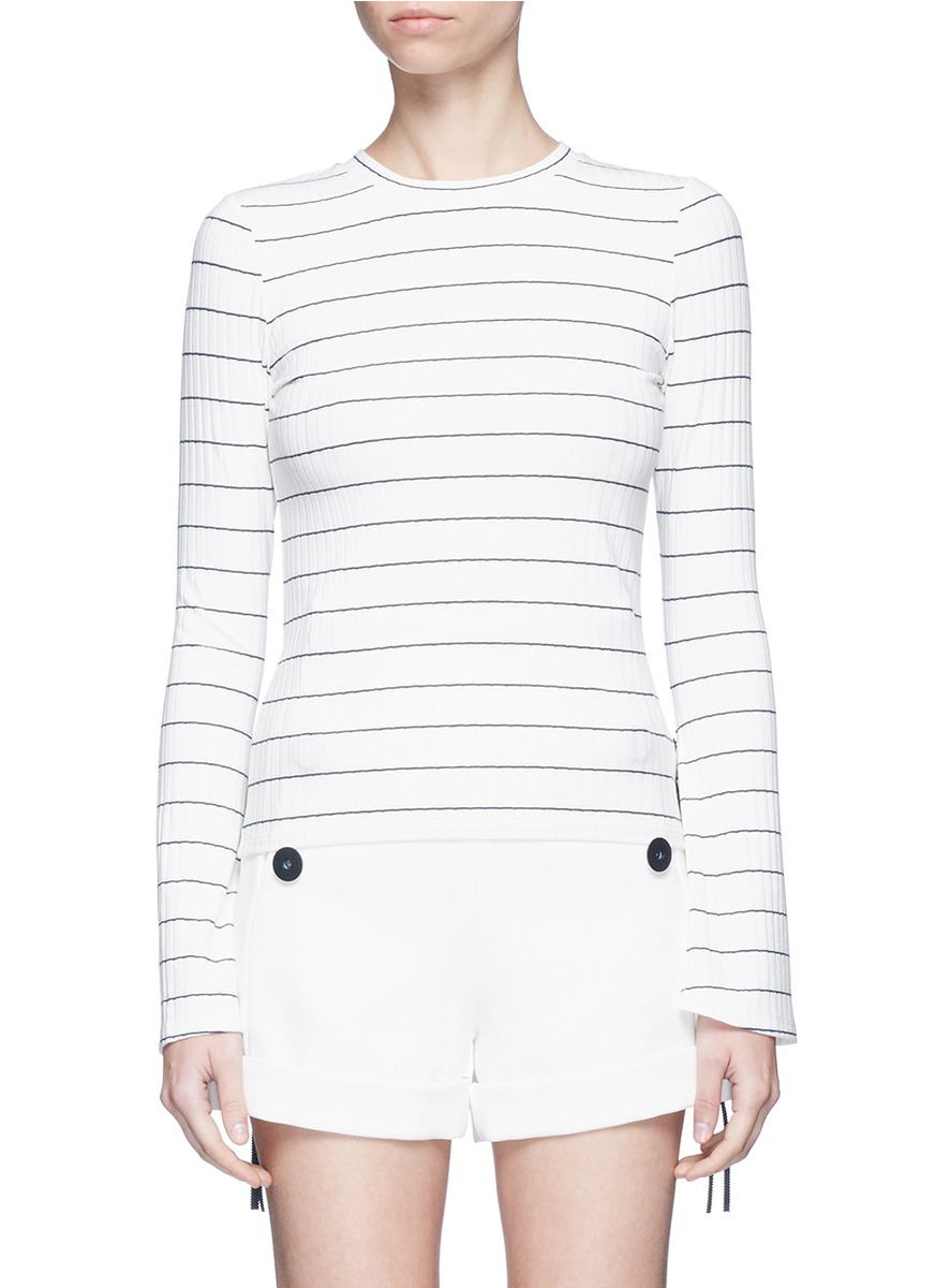 Ribbon bell sleeve stripe sweater by Comme Moi
