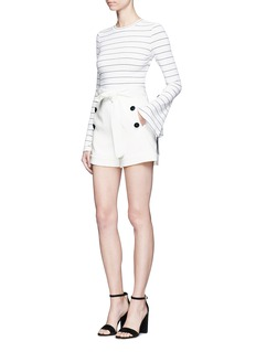 Comme Moi Ribbon bell sleeve stripe sweater