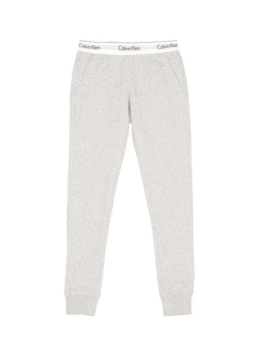 Logo waistband French terry pyjama pants by CALVIN KLEIN ATH