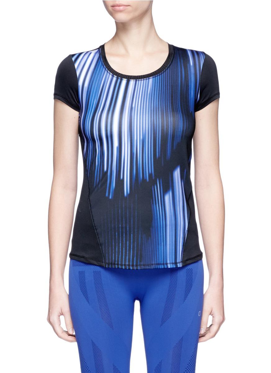 Stripe print mesh panel performance T-shirt by CALVIN KLEIN ATH