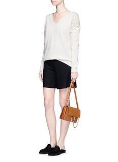 ChloéCherry guipure lace Merino wool-cashmere sweater