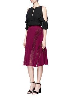self-portrait'Symm' lace insert pleated chiffon skirt