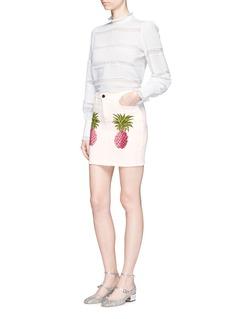 GiambaPineapple print frayed denim mini skirt