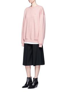 Acne Studios'Yana' emoticon patch fleece lined sweatshirt