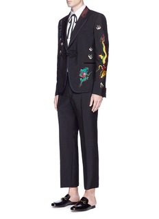 Gucci Dragon embroidered mohair-wool hopsack pants