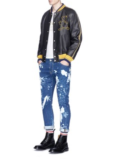 Gucci Donald Duck embroidered calfskin leather varsity jacket