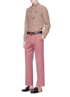 Gucci 'Cambridge' turtle print tie neck silk shirt