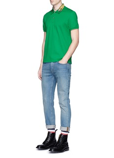 GucciTiger embroidered cotton polo shirt