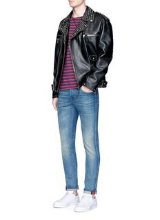 GucciWeb stripe roll cuff stonewash jeans